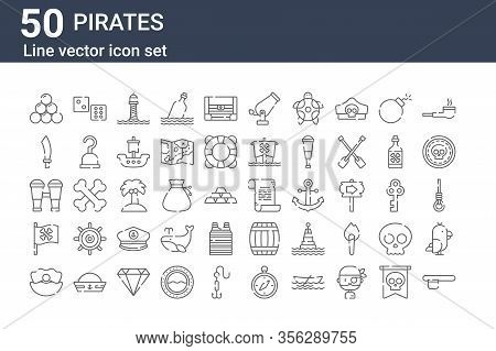 Set Of 50 Pirates Icons. Outline Thin Line Icons Such As Eyepatch, Clam, Pirate Flag, Binoculars, Sa