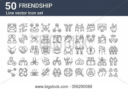 Set Of 50 Friendship Icons. Outline Thin Line Icons Such As Community, Share, Add Friend, Hands, Con