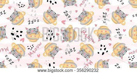 Cute Cat Sleeping Seamless Pattern Print. Vector Nursery Cartoon Sleep Gray Animals, Cute Baby Patte