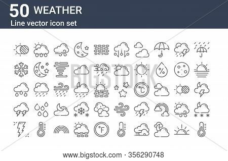 Set Of 50 Weather Icons. Outline Thin Line Icons Such As Thermometer, Thunder, Thunderstorm, Rainy,