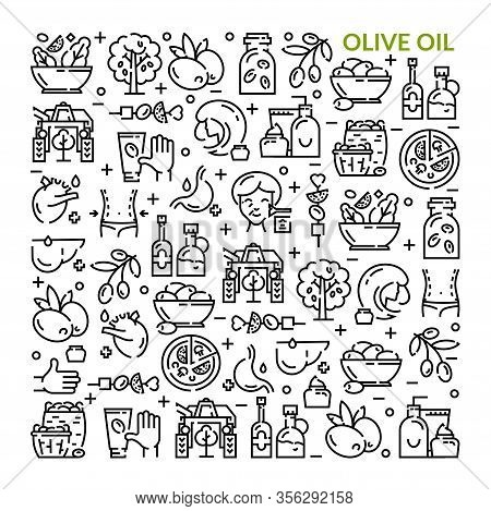Olives. Olive Oil. Set Of Linear Icons.
