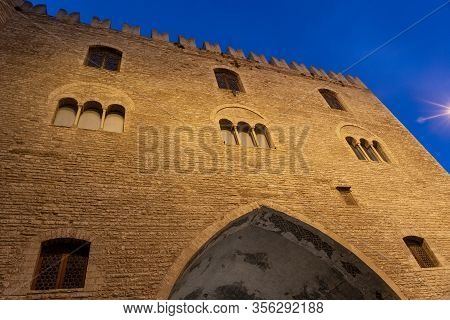 Fabriano, Ancona, Marche, Italy: Exterior Of Historic Buildings. The Main Square Of The City, Piazza