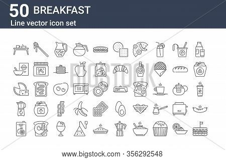 Set Of 50 Breakfast Icons. Outline Thin Line Icons Such As Sandwich, Juice, Blender, Cheese, Cereal,