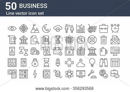 Set Of 50 Business Icons. Outline Thin Line Icons Such As Briefcase, Cash, Calculator, Smartphone, C