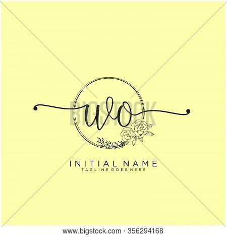 Wo Letter Initial Beauty Monogram And Elegant Logo Design, Handwriting Logo Of Initial Signature, We