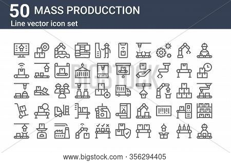 Set Of 50 Mass Producction Icons. Outline Thin Line Icons Such As Conveyor, Conveyor, Trolley, Conve