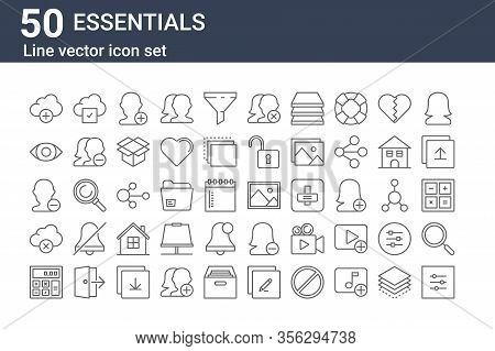 Set Of 50 Essentials Icons. Outline Thin Line Icons Such As Settings, Calculator, Delete, Unfriend,