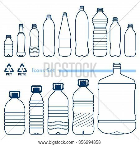 Recycling Code 1 (pet - Polyethylene Terephthalate) Outline Icons Set. Empty Clear Plastic Bottles O