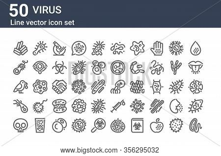 Set Of 50 Virus Icons. Outline Thin Line Icons Such As Cholera, Lethality, Giardia, Bird Flu, Parasi