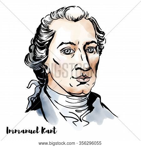 Immanuel Kant Engraved Watercolor Vector Portrait With Ink Contours. Influential Prussian German Phi