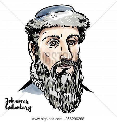 Johannes Gutenberg Engraved Watercolor Vector Portrait With Ink Contours.  German Blacksmith, Goldsm
