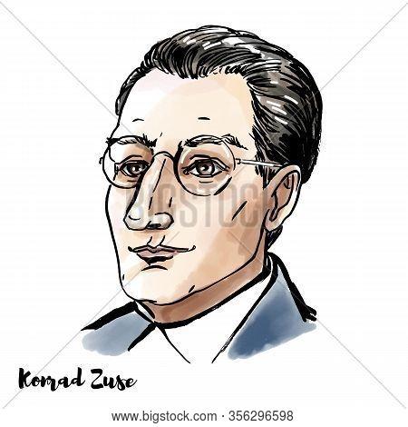 Konrad Zuse Engraved Watercolor Vector Portrait With Ink Contours. German Civil Engineer, Pioneering
