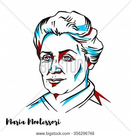 Maria Montessori Engraved Vector Portrait With Ink Contours. Italian Physician And Educator Best Kno