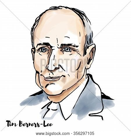 Tim Berners Lee Watercolor Vector Portrait With Ink Contours. English Engineer And Computer Scientis