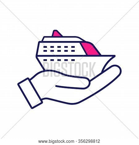 Cruise Service Color Icon. Hand Holding Cruise Ship. Shore Excursions, Tours And Travel Agency. Voya