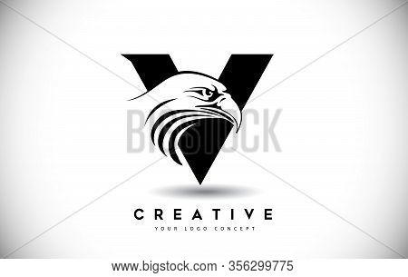 V, Eagle, Bird, Cut, Logo, Letter, Design, Creative, Typography, Logo, Corporate, Business, Concept,