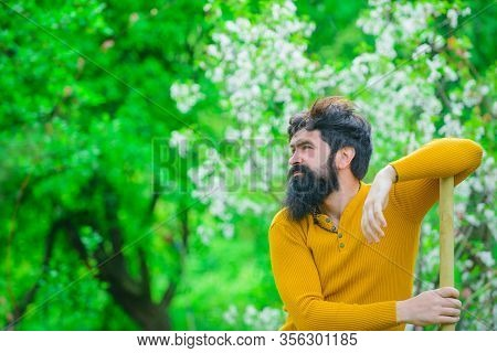 Farm. Work In Garden. Plants. Smiling Man Preparing To Planting. Gardener Work. Spring. Work In Gard