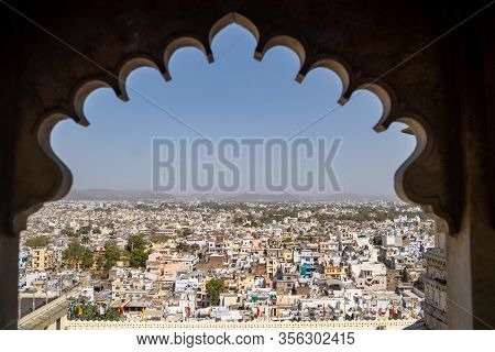 Udaipur, India - March 14, 2020: Aerial View Of The Udaipur Cityscape In The State Of Rajasthan. Fra