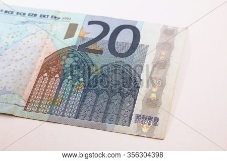 Twenty Euro Bill On A White Background, Euro Money, Euro Banknotes