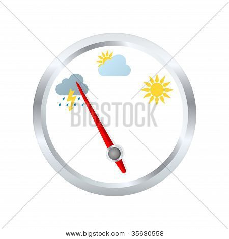 Barometer Aneroid Indicates Stormy Weather. Vector Illustration