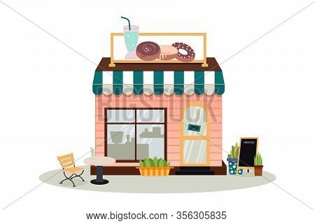 Facade Of The Cafe Building With A Sign. A Bakery Store, Cafe, Pastry And Dessert Shop. A Display Of