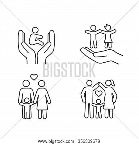 Child Custody Linear Icons Set. Thin Line Contour Symbols. Childcare. Childrens Rights And Protectio