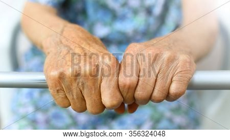 Old Ladys Hand. Elderly Lady Is Waiting For Help. Senior Lady In Retirement Nursing Home. Elderly, A