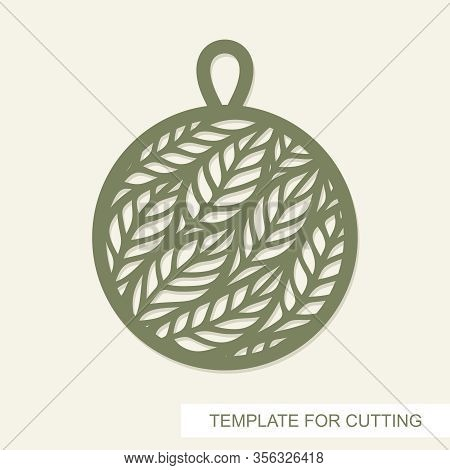 Pendant In The Shape Of Circle With Leaves Inside. Openwork Template For Laser Cutting, Metal Engrav
