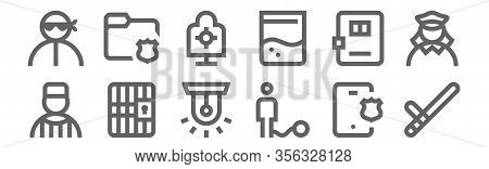 Set Of 12 Police Icons. Outline Thin Line Icons Such As Baton, Ball, Prison, Jail, Shooting Target,