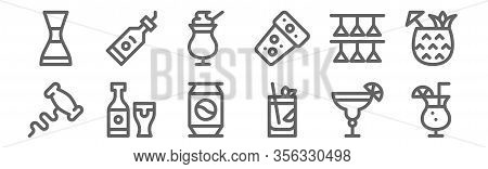 Set Of 12 Cocktails Icons. Outline Thin Line Icons Such As Cocktail, Cuba Libre, Beer, Cocktail Glas