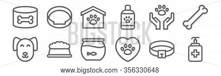 Set Of 12 Veterinary Icons. Outline Thin Line Icons Such As Antiseptic, Veterinary, Pet Food, Adopti