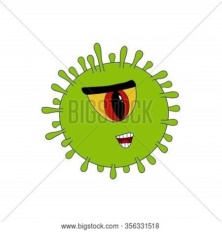 Covid-19 Common Human Green Virus Or Coronovirus Bacteria With One Eye Viral Cyclops With Toothy Mou