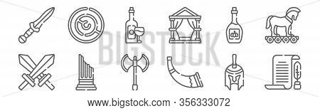 Set Of 12 Ancient Greece Icons. Outline Thin Line Icons Such As Papyrus, Horn, Column, Olive Oil, Wi