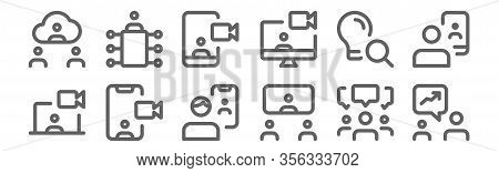 Set Of 12 Meeting Icons. Outline Thin Line Icons Such As Chatting, Video Chat, Videocall, Idea, Vide