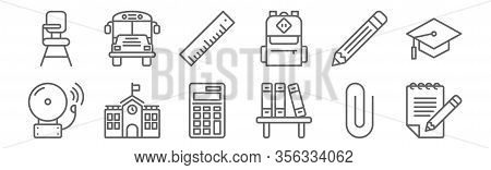 Set Of 12 Education Icons. Outline Thin Line Icons Such As Notepad, Bookshelf, School, Pencil, Ruler