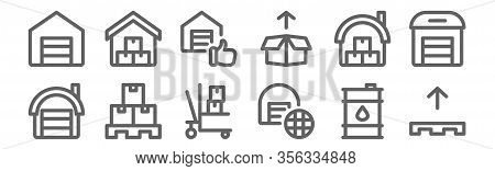 Set Of 12 Warehouse Icons. Outline Thin Line Icons Such As Pallet, International Shipping, Pallet, W