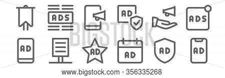 Set Of 12 Advertising Icons. Outline Thin Line Icons Such As Ads, Ads, Poster, Advertising, Broadcas