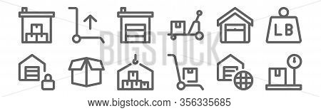 Set Of 12 Warehouse Icons. Outline Thin Line Icons Such As Scale, Push Cart, Open Box, Warehouse, Wa