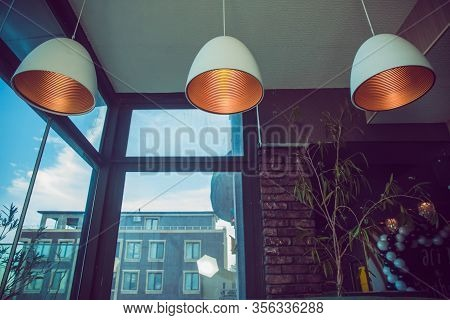 Close Up Incandescent Lamp Shining, Yellow Light Of Lamp Hang On Ceiling . Ceiling Light Retro Style