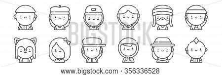 Set Of 12 Urban Tribes Icons. Outline Thin Line Icons Such As Punk, Hacker, Emo, Rastafari, Skater,