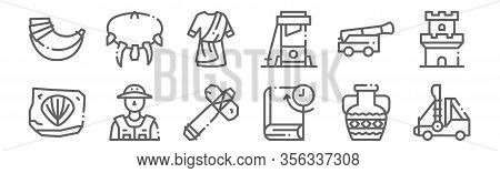 Set Of 12 History Icons. Outline Thin Line Icons Such As Catapult, Book, Archeologist, Cannon, Toga,