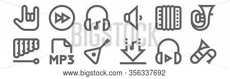 Set Of 12 Music Icons. Outline Thin Line Icons Such As Trombone, Download, Mp, Accordion, Music, For