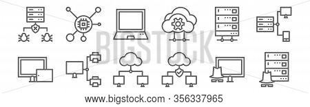 Set Of 12 Computers And Network Icons. Outline Thin Line Icons Such As Hacking, Network, Sharing Fil