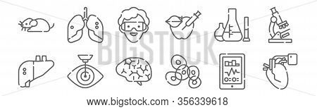 Set Of 12 Bioengineering Icons. Outline Thin Line Icons Such As Defibrillator, Cells, Laser Surgery,