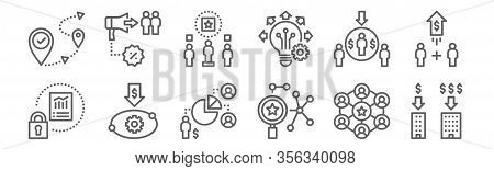 Set Of 12 Sustainable Competitive Icons. Outline Thin Line Icons Such As Scale, Researchgate, Produc