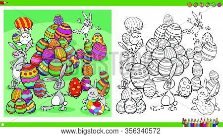 Cartoon Illustrations Of Easter Bunnies Holiday Characters With Colored Eggs Coloring Book Page