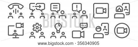 Set Of 12 Meeting Icons. Outline Thin Line Icons Such As Camera, Video Call, Settings, Camera, Chatt
