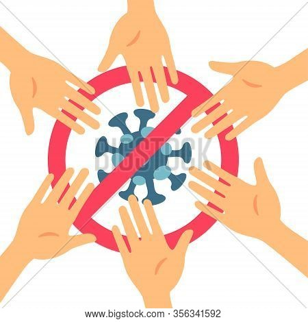 Stop Coronavirus With Red Prohibit No Hand Touching Sign In A Flat Design Concept Background. Round