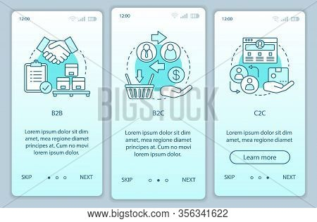 Business Models Onboarding Mobile App Page Screen Vector Template. B2b, B2c, C2c. Walkthrough Websit