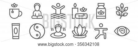 Set Of 12 Therapy Icons. Outline Thin Line Icons Such As Hypnosis, Lotus, Yin Yang, Supplement, Phys